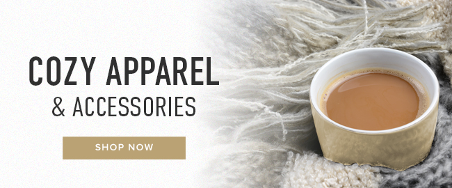 Picture of coffee. Click to shop Cozy Apparel & Accessories.
